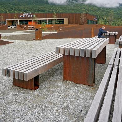 Street furniture - Rough Wooden Bench - Roug&Ready Picnic set, Vinstra (NO)